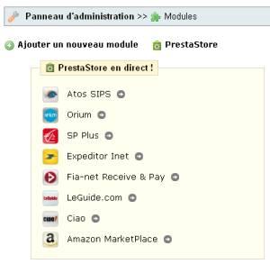 PrestaStore, boutique en ligne, partie administration
