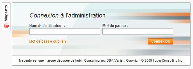 Connexion administrateur Magento