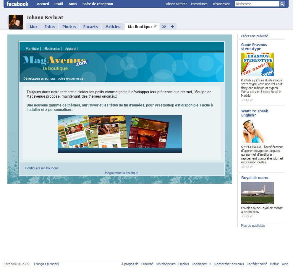 Page d'accueil application Facebook pour Magento et Prestashop
