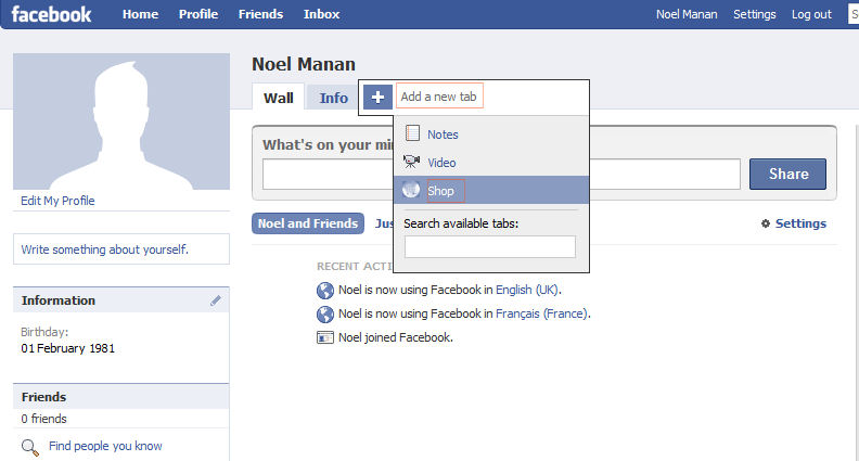 Add Facebook Profil tab
