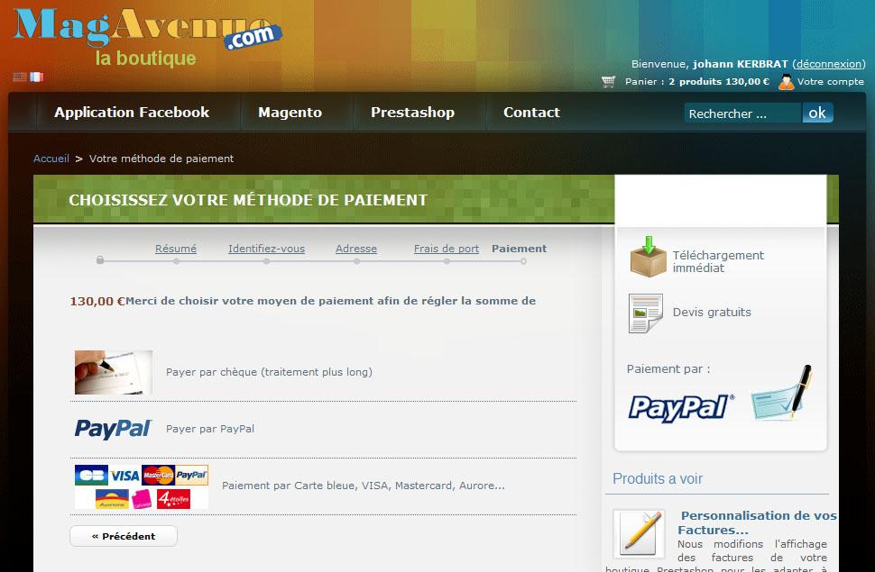 Paypal Prestashop accepter paiement par carte bancaire direct