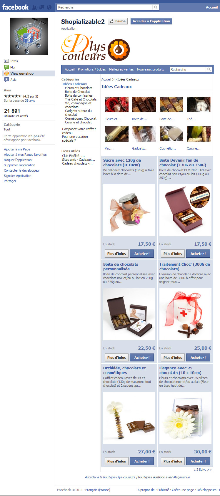 Application Facebook Prestashop Shopializable V3
