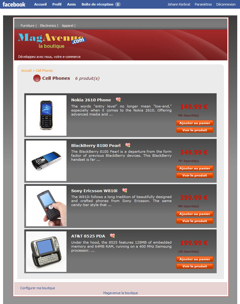Facebook Magento theme redhot 1