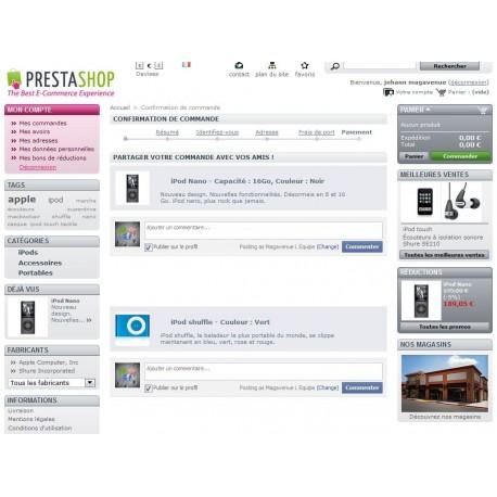 Pack partage panier Facebook, commentaires, widget, boutique