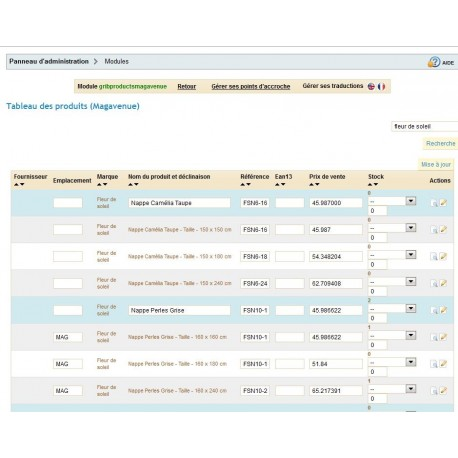 Rapid and massive Update products and declinations on your PrestaShop shop