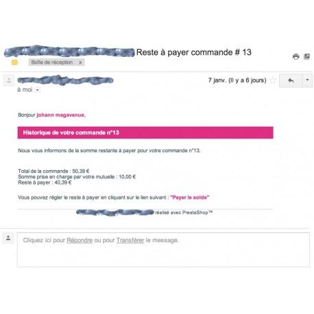 Prestashop : Envoyer un lien pour faire payer le solde d'une commande