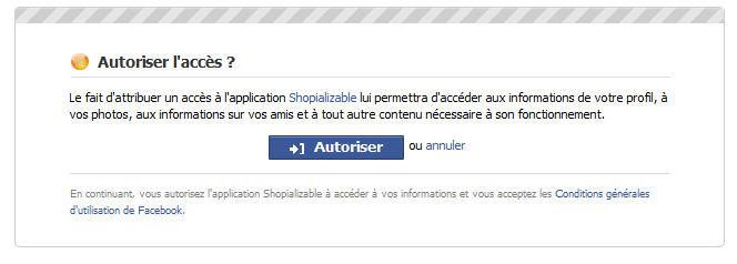 Demande autorisation Facebook