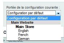 Choix su site dans l'admin de Magento