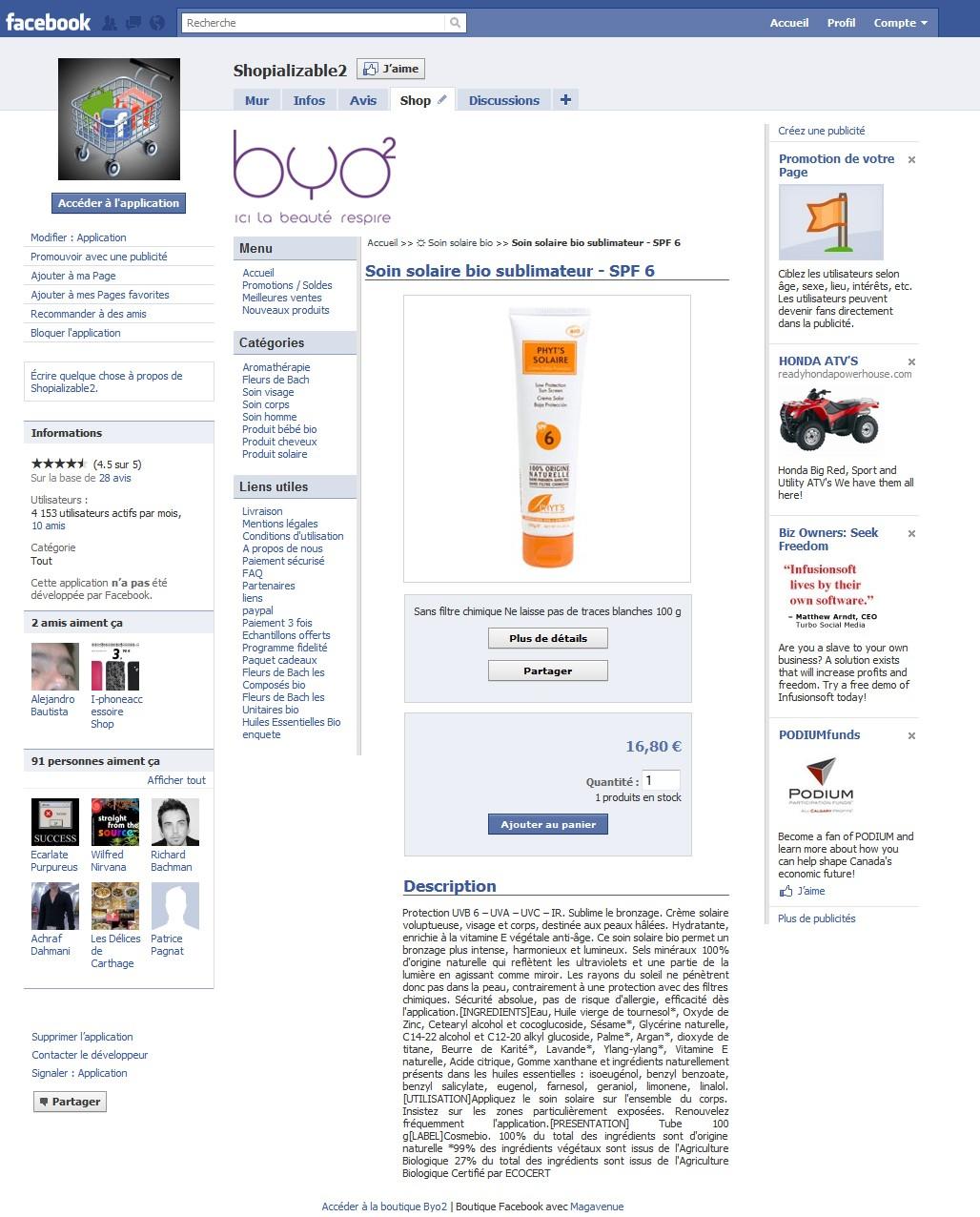 Application Facebook Magento shopializable