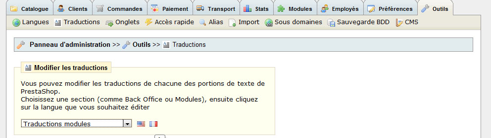 Prestashop traduction module