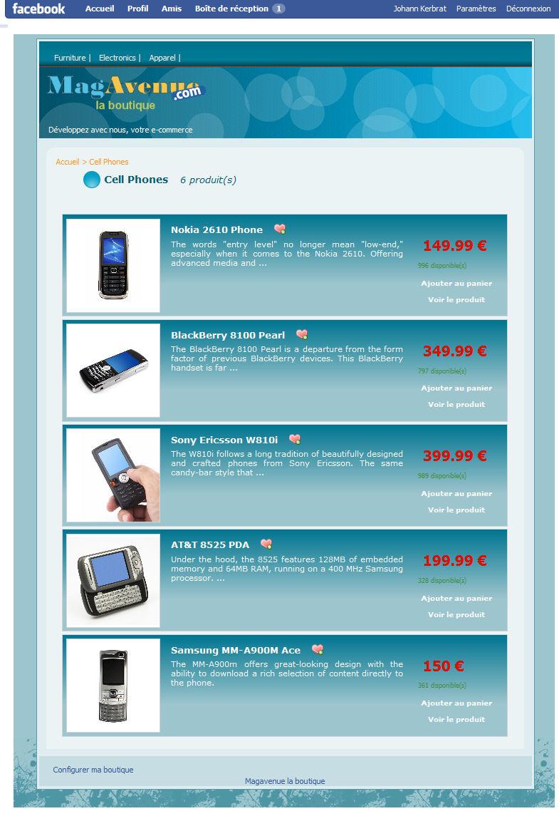 Facebook Magento theme blue 1