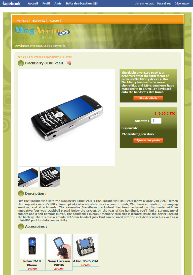 Facebook Magento theme greenpop 2