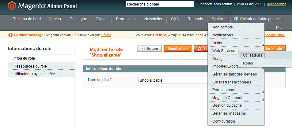 Utilisateur WebService Magento